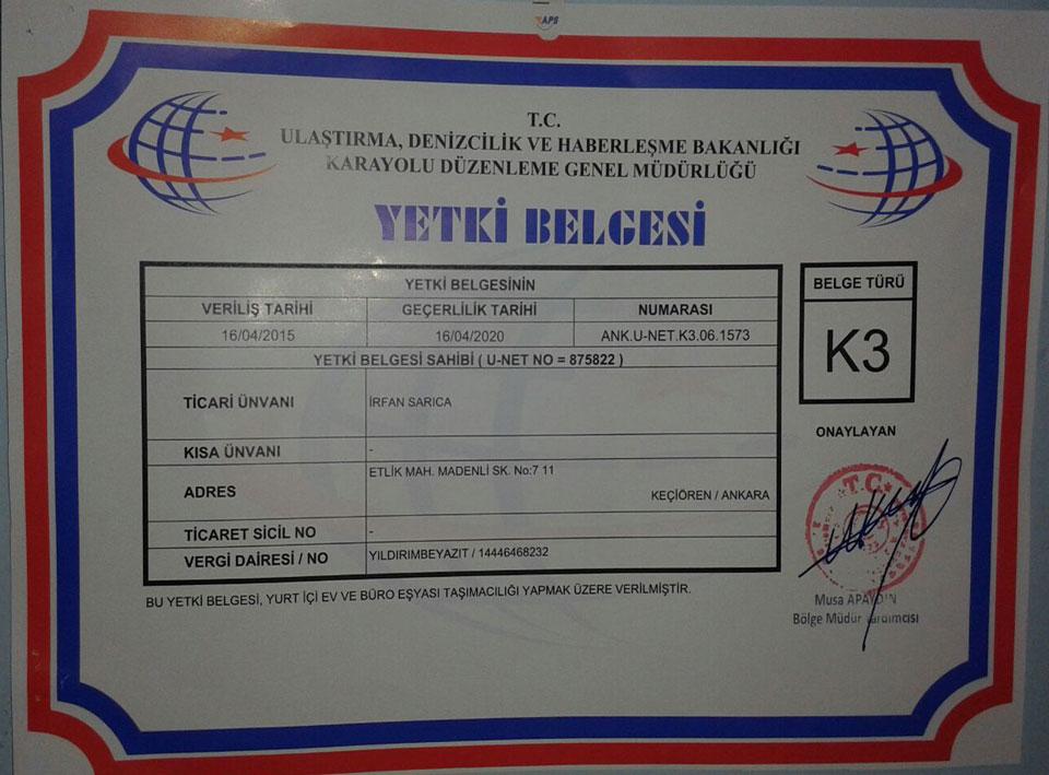 Ankara Çağrı Nakliyat K3 Yetki Belgemiz